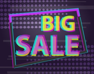 Sale discount poster or banner with glitch text, Anaglyphic