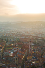 Aerial view of old French city of Nice during a sunset
