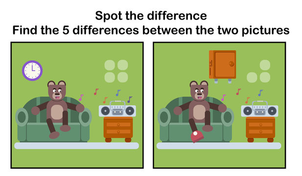 Spot the difference; Brown bear relaxing at sofa
