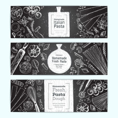 Italian pasta horizontal banner set. Hand drawn vector illustration. Collection of pasta different types. Italian food design template. Engraved sketch style.