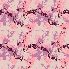 Seamless pattern with imitation of the marble. Rose and red inclusions on pink background with cracks