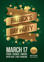 "Poster to celebrate St. Patrick's Day. Gold tape with inscription: ""Patrick's Day Party"" and gold clover leaves. Vector illustration."