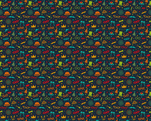 Colourful party background - seamless texture. Vector.