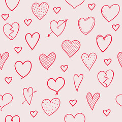 Design of background with heart doodles - seamless texture. Valentine's Day, Woman's Day and Mother's Day. Vector.