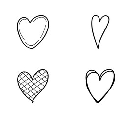 Concept of heart doodles - set with icons. Vector.