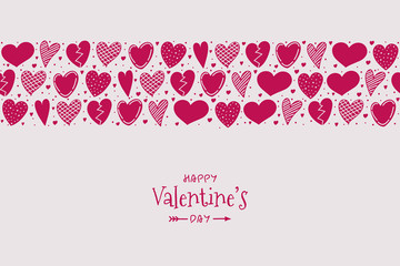Design of poster for Valentine's Day with hand drawn hearts and wishes. Vector.