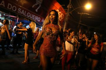 Transgender dancer Carvalho performs during the rehearsal of Salgueiro samba school prior the carnival parade in Rio de Janeiro