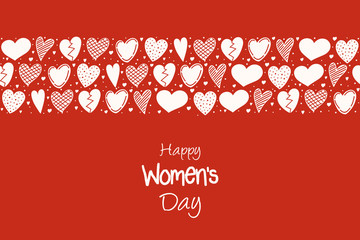 Happy Women's Day - cute card with hand drawn hearts and wishes. Vector.