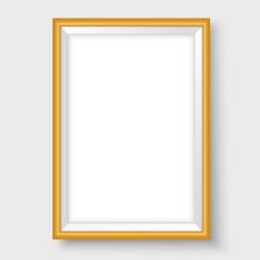 Frame mock up for vertical poster vector template golden