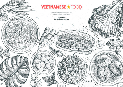 Vietnamese food top view frame. A set of vietnamese dishes . Food menu design template. Hand drawn sketch vector illustration. Engraved style.