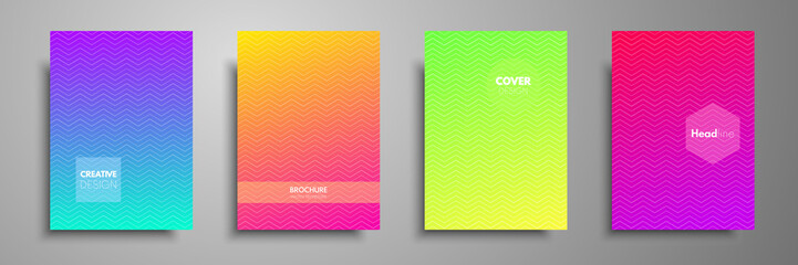 Minimal colorful cover template set. Abstract design template for brochures, flyers, banners, headers, book covers, notebooks, catalog and annual