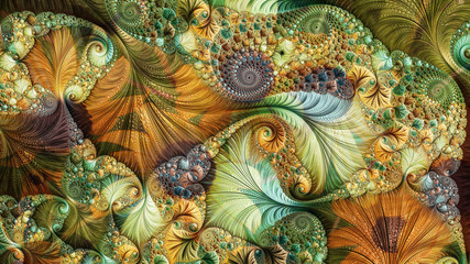 An abstract computer generated fractal design. A fractal is a never-ending pattern. Fractals are infinitely complex patterns that are self-similar across different scales. Wall mural