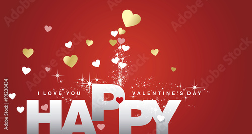 happy valentines day firework red landscape greeting card