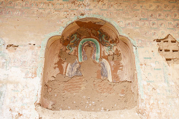 Empty niche in the Buddhist caves of Matisi in Gansu-China