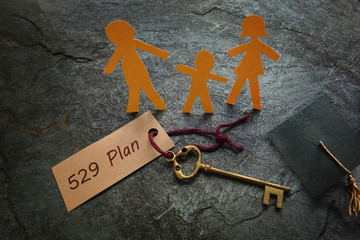Paper family with 529 Plan gold key