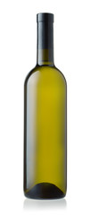 Front view of white wine bottle