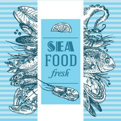 Hand drawn vector illustration sea food. Vintage sketch style.