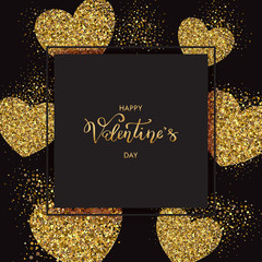 Valentines day banner with lettering and sparkles bright hearts on black background. Wallpaper. flyers, invitation, posters, brochure. Vector illustration