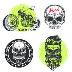 Vintage motorcycle logotype with skull with eyeglasses and motorbike. Vector illustration isolated on white background