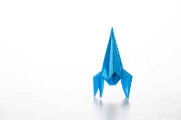 Paper homemade origami rocket.