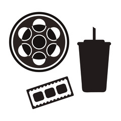 Film industry vector set: videotape, drink, film roll isolated on white background. Film reel movie, filmstrip element in minimal style. Video tape logo. Movie icon set. Cinefilm, tape icon for web.