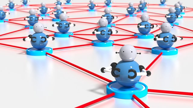 Network of platforms with bots on top botnet cybersecurity concept