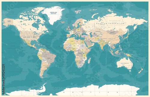 Vintage political topographic colored world map vector stock image vintage political topographic colored world map vector gumiabroncs Choice Image
