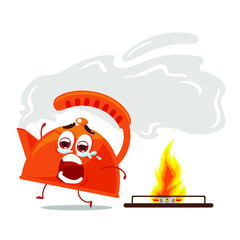 Running kettle from fire. Screaming and crying kettle. Vector illustration isolated on white background