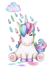 Cute sitting unicorn cartoon and raining, isolated on white.