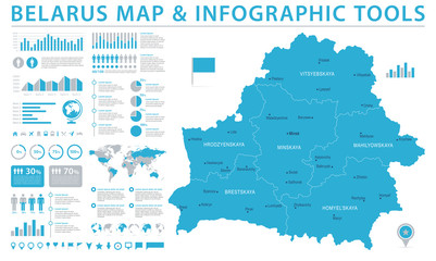 Belarus Map - Info Graphic Vector Illustration