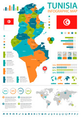 Tunisia - infographic map and flag - Detailed Vector Illustration