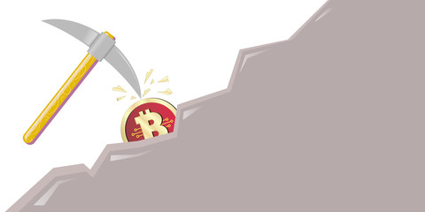 concept of mining of crypto currency, bitcoin, pickax
