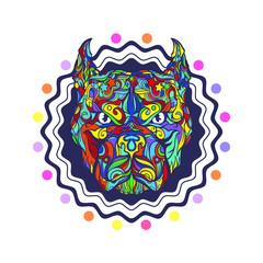Face of pitbull dog emblem isolated on white background, vector illustration