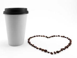 3D render. Paper Cup for coffee with coffee beans laid in the shape of a heart. Isolated on white background
