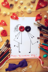 children's card with a loving couple who is kissing. Valentine's Day