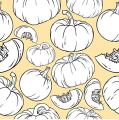 Pattern with many pumpkins, vector illustration isolated on yellow background