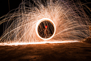 Flying sparks with a long exposure