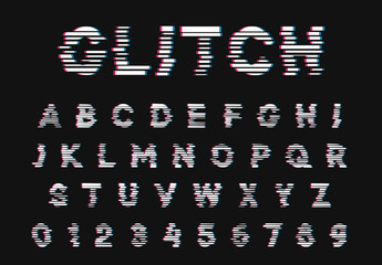 Glitch font. Digital alphabet letter. Trendy style lettering type