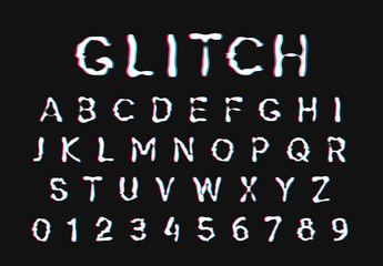 Glitch font. Digital alphabet letter. Trendy style lettering type