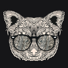 Vector ornament face of red panda with fashion eyeglasses. Isolated on dark background.