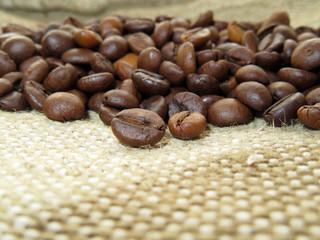 Roasted coffee beans on burlap closeup