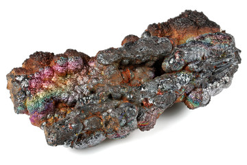 iridescent goethite from Tharsis/ Spain isolated on white background