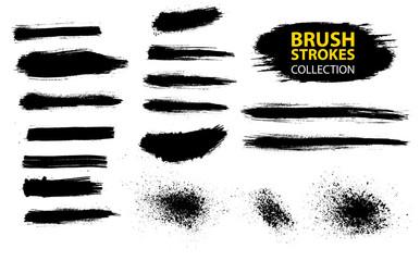 Set of black paint, ink, grunge, dirty brush strokes.