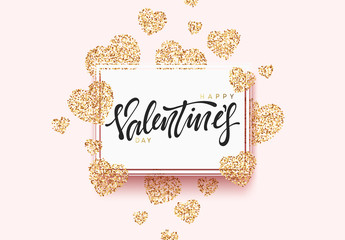Happy Valentines Day lettering greeting card on golden bright heart, on pink background. Holiday banner and poster.