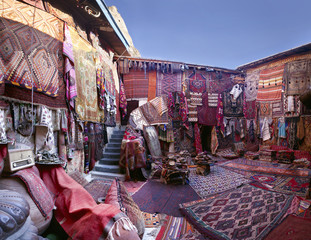 Fabrics for sale at market stall