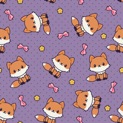 Kawaii foxes seamless vector pattern/wallpaper.