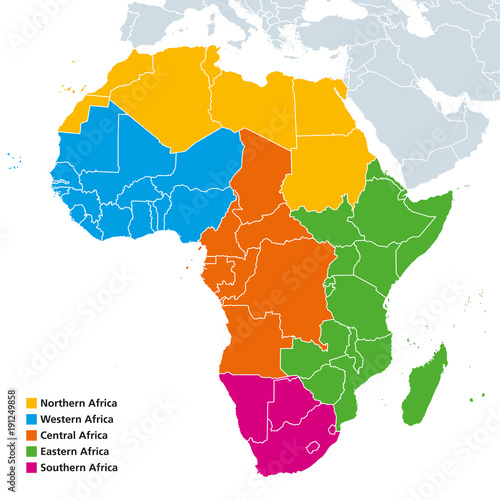Africa regions political map. United Nations geoscheme with single ...
