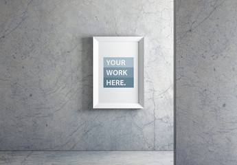 Vertical Frame on Marble Wall Mockup 1