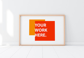 Wooden Framed Poster in Empty Room Mockup 2