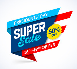 Presidents' Day Super Sale banner design template, big weekend sale, special offer